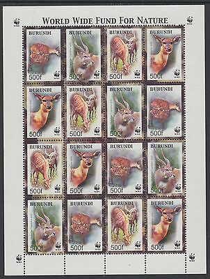 XG-BA379 BURUNDI - Wwf, 2004 Wild Animals, Sitatunga, 4 Sets MNH Sheet