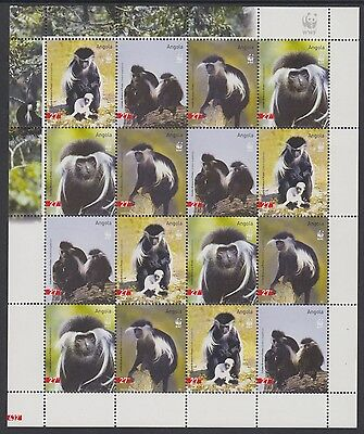 XG-BA389 ANGOLA IND - Wwf, 2004 Wild Animals, Monkeys, Colobus MNH Sheet