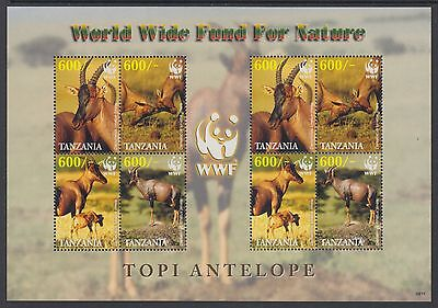 XG-BA445 TANZANIA - Wwf, 2006 Wild Animals, Topi, 2 Sets MNH Sheet