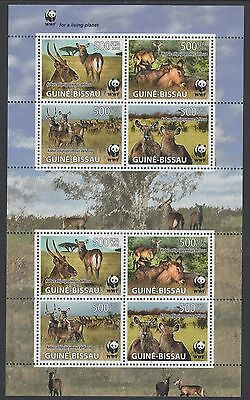 XG-BA493 GUINEA-BISSAU - Wwf, 2008 Wild Animals, Waterbuck, 2 Sets MNH Sheet