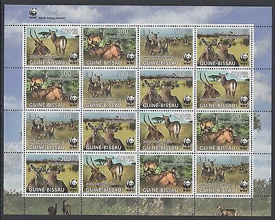 XG-BA494 GUINEA-BISSAU - Wwf, 2008 Wild Animals, Waterbuck, 4 Sets MNH Sheet