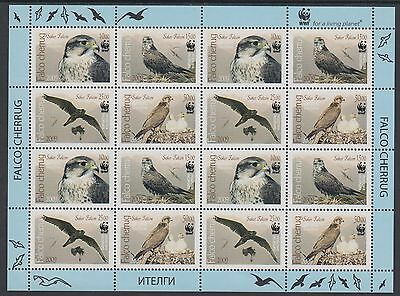 XG-BA515 KYRGYZSTAN - Wwf, 2009 Birds Of Prey, Saker Falcon MNH Sheet