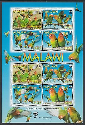 XG-BA521 MALAWI - Wwf, 2009 Lilian'S Lovebirds, 2 Sets MNH Sheet