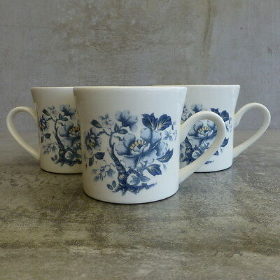 3  Vintage Crown Lynn Tea Cups Made in New Zealand Blue flowers Retro