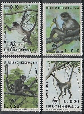 XG-BA612 HONDURAS - Wwf, 1990 Wild Animals, Spider Monkey MNH Set