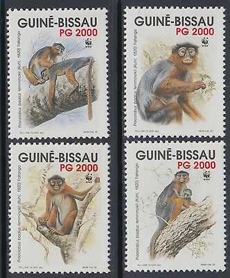 XG-BA646 GUINEA-BISSAU - Wwf, 1992 Wild Animals, Monkeys MNH Set