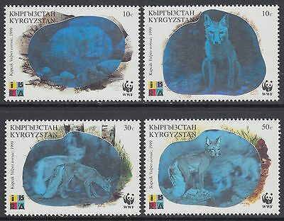 XG-BA733 KYRGYZSTAN - Wwf, 1999 Wild Animals, Corsac Fox, Hologram MNH Set