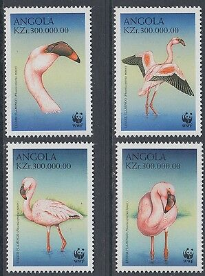XG-BA736 ANGOLA IND - Wwf, 1999 Wild Animals, Birds, Lesser Flamingo MNH Set