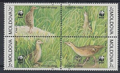XG-BA758 MOLDOVA - Wwf, 2001 Birds, Corncrake, Block Of 4 MNH Set
