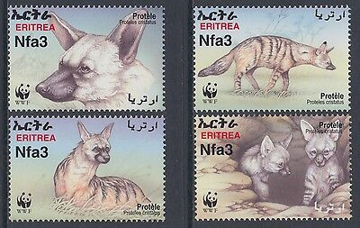 XG-BA764 ERITREA - Wwf, 2001 Wild Animals, Aardwolf MNH Set