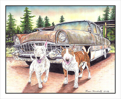 "Bull Terrier ""Bulls and Packard"". Original 8.5x11 Art Print."