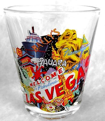 "Shot Glass LAS VEGAS Shooter with Famous Welcome Sign & Casinos 2-1/4"" Jigger"