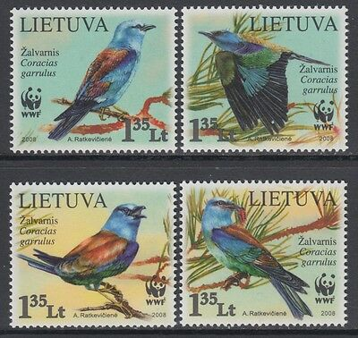 XG-BA871 LITHUANIA - Wwf, 2008 Birds, Nature, European Roller MNH Set