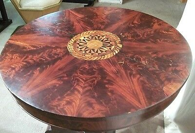 ANTIQUE EARLY 19th CENTURY CLASSICAL REGENCY EMPIRE INLAID MAHOGANY CENTER TABLE