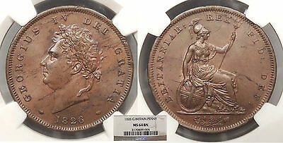 GREAT BRITAIN George IV 1826 Penny NGC MS-64 BN