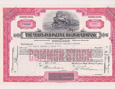 Texas & Pacific Railway Common Stock Certificate (Now with free shipping)