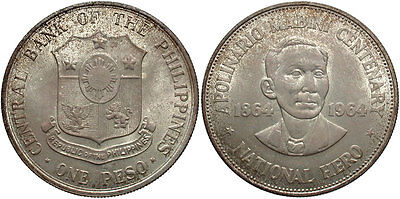 PHILIPPINES: 1964 1 Peso 100th Anniversary Birth of Apolinario Mabini #WC70786