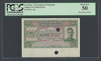 Mauritius One Rupee ND(1940) P26p Proof About Uncirculated