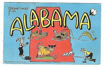 """Map showing """"Greetings from ALABAMA"""""""