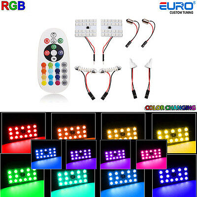 2xRGB 12Color-change LED T10 24SMD 5050 Map/Dome/Trunk Interior Lights w/Remote