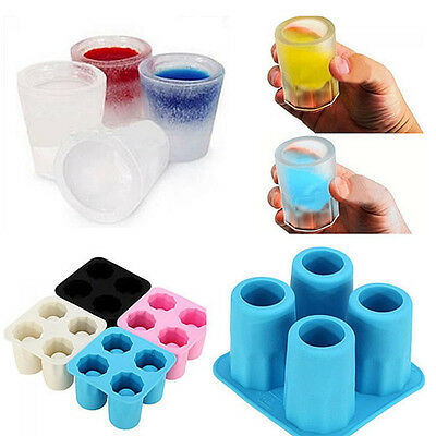 Silicone 4-Cup Shaped Ice Cube Shot Glass Freeze Mold Maker Tray Bar Cup Party