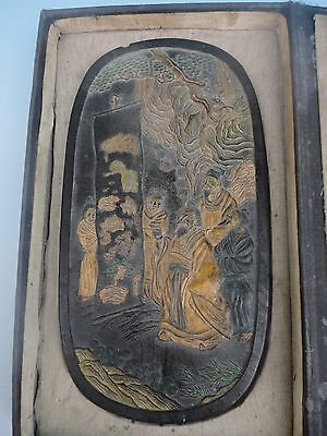 Collected Chinese Old Vintage Handwork Carved Figure Ink Stones Decoration