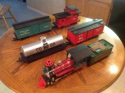 Kalamazoo G Scale Train Locomotive with 3 cars, Caboose & Transformer
