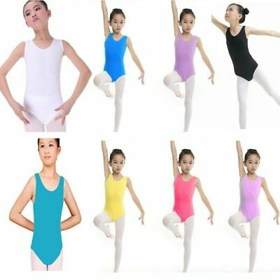 Kid Girl Dance Leotard Stretch Bodysuit Ballet Training Dress Tops Clothes 4-13Y