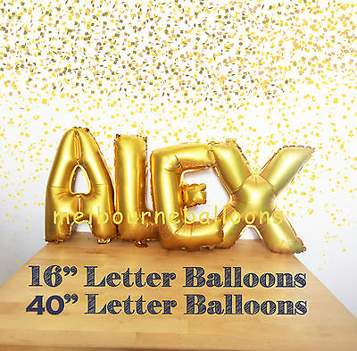 "16""/40"" Gold/Silver Foil Letters Number Alphabet Balloons Birthday Party wedding"