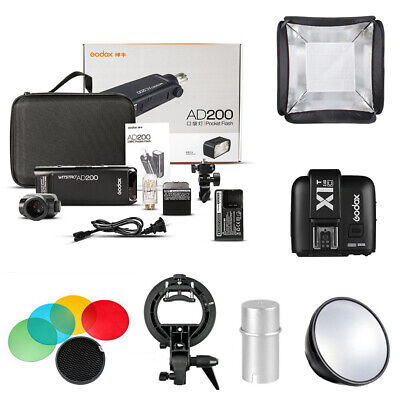 EU Godox 2.4 TTL HSS Two Heads AD200 200w Flash+X1T-C Trigger 40x40 Softbox Kit