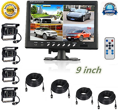 "9"" Quad Monitor Backup Night Vision Camera Safety Systems For Truck Trailer Rv"