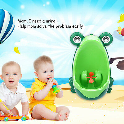 Newest Green Frog Potty Training Urinal for Kids Boys with Funny Whirling Target
