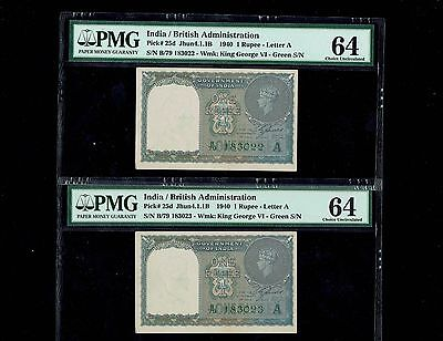 2 Notes,1 Rupee (1940) Green Serial , king George v1 portrait ,pmg64 Pick #25d