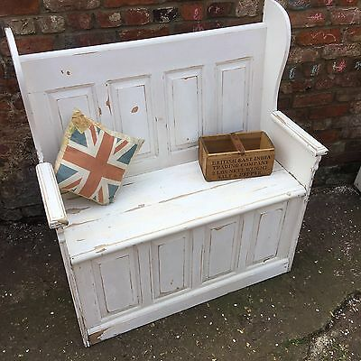 Shabby Chic Painted Pine Hallway Seating Pew Bench Farmhouse Rustic Large Chair