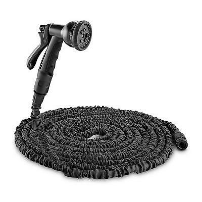 Black Spray Nozzle Garden Hose 8 Functions Lightweight 22.5 M 3 Times Extendable