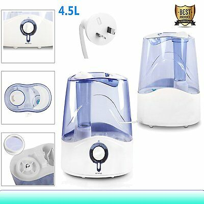 4.5L 23W Ultrasonic Air Humidifier Cool Mist Steam Nebuliser Diffuser Purifier
