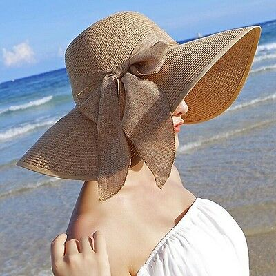 Sun Hat-Fashion Chic Womens Girl Straw Cap Wide Large Brim Summer Beach New
