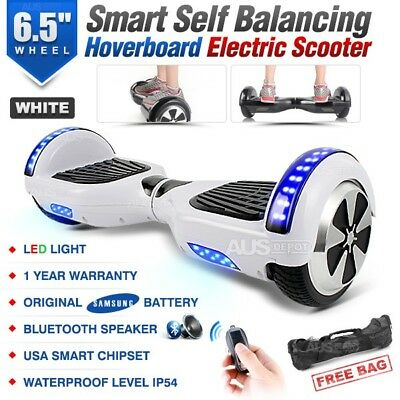 "6.5"" Two Wheel White Bluetooth Smart Self Balancing Electric Scooter Hoverboard"