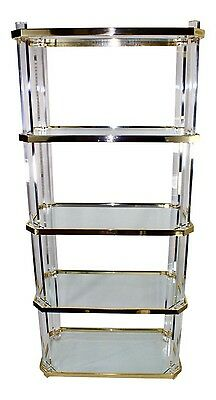 Vintage Lucite Etagere -Brass with Glass Shelves - PRICE REDUCED