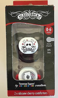 2 x Tommee Tippee Scallyrocka Cherry Dummies Skull Rockabilly Alternate Tattoo