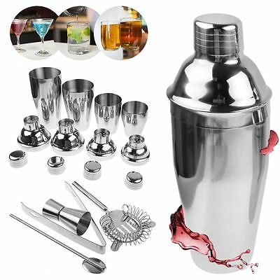 5Pcs/Set 250~750ml Stainless Steel Cocktail Shaker Bar Drink Mixer Kit With Case