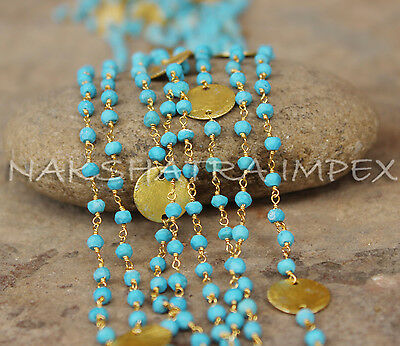 Turquoise 3-4mm Roundel Faceted Beaded Vermeil Rosary Chain With Coin Metal Part