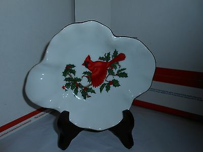 Vtg Lefton China 01207 Hand Painted Cardinal Holly Berries Trinket Candy Bowl