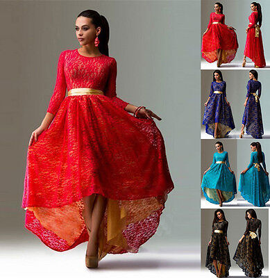 Ladies Women Lace 3/4 Sleeve Tunic Cocktail Prom Gown Evening Party Long Dress