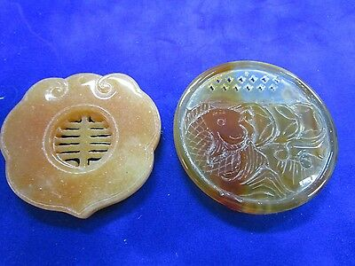 Pair  Asian Hand Carved Carnelian Large Double Sided Pendants