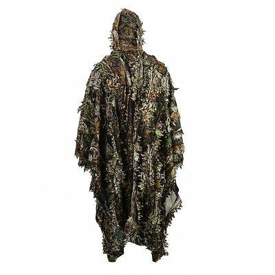 Outdoor 3D Leaves Camo Poncho Cloak Stealth Military Woodland CS Suit Clothing