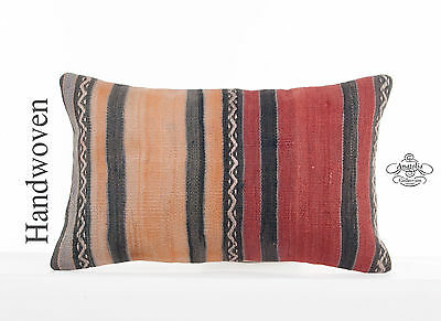 "Vintage Lumbar Kilim Pillow 12x20"" Striped Pillowcase Turkish Kelim Rug Cushion"