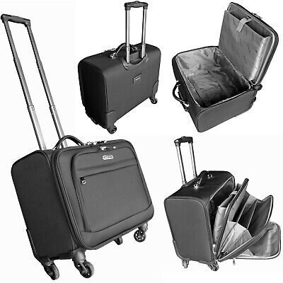 4 Wheeled Large Laptop Business Trolley Case Pilot Case Cabin Luggage Bag 17.5""