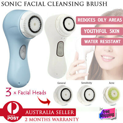 Waterproof Sonic Skin Cleansing Facial Brush Deep Clean Care System 3in1 Brusher