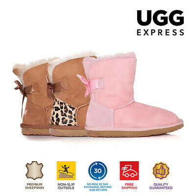 Kids UGG Boots - Child Mini Back Bow,Premium Australian Sheepskin, Non-Slip